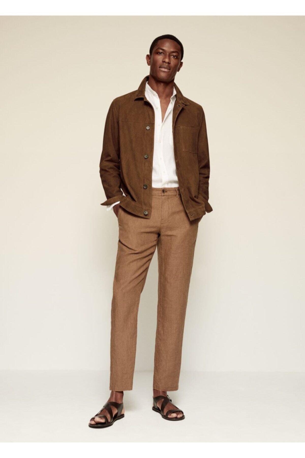 MANGO Man Erkek Kahverengi Dar Kesimli Keten Pantolon 2