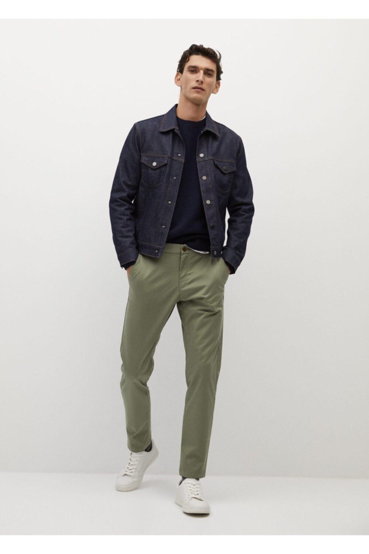 MANGO Man Erkek Haki Daralan Kısa Paçalı Chino Pantolon 2