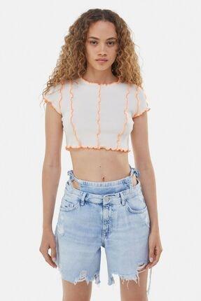Bershka Kıvrımlı Kenarlı Kısa Kollu T-shirt