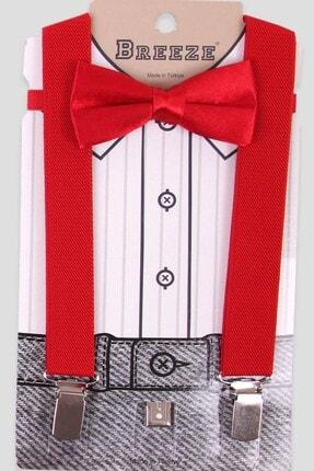 Breeze Erkek Çocuk Kırmızı Pantolon Askısı Papyonlu Set