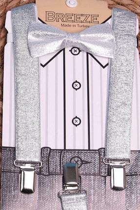 Breeze Erkek Çocuk Gri Papyonlu Pantolon Askısı Set