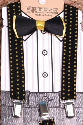 Breeze Erkek Çocuk Siyah Papyonlu Pantolon Askısı Set