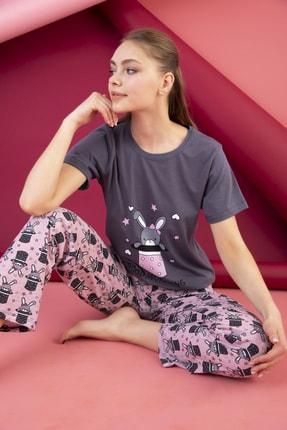 STRAWBERRY Kadın Füme Pamuklu Baskılı Pijama Takım