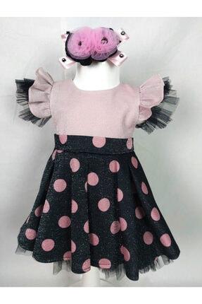 ÖFİ Kids Kız Sim Baskılı Puantiyeli Elbise