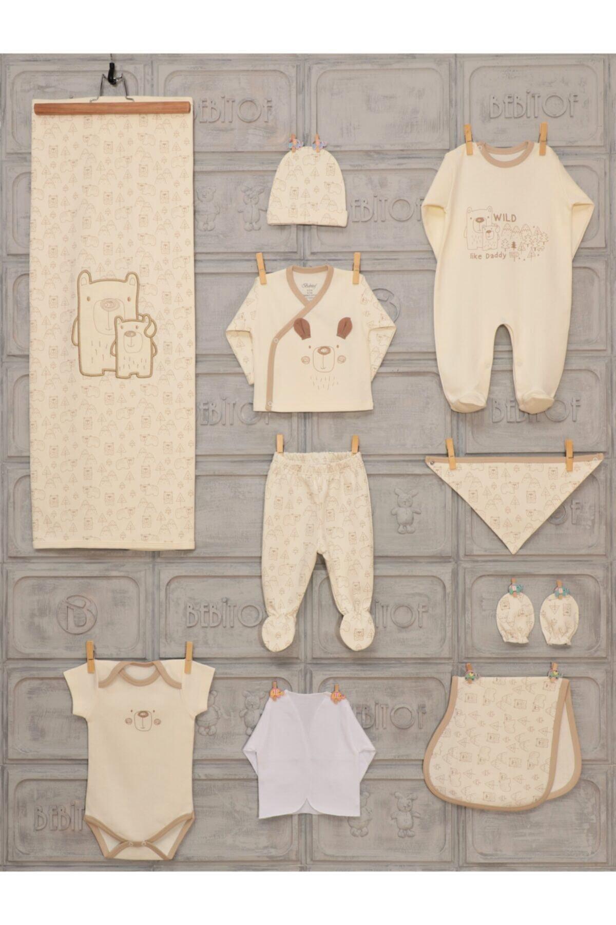 Bebitof Erkek Bebek 0-3 Ay Anne Ayıcık 10 Lu Hastane Çıkışı Tulumlu Model 1