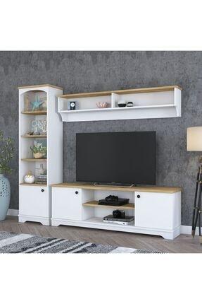 Rani Mobilya D3 Duvar Raflı Kitaplıklı Country Tv Ünitesi Duvara Monte Dolaplı Tv Sehpası Beyaz Ceviz M4
