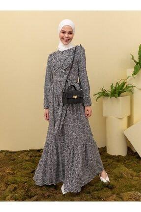 Loreen Kadın Siyah Desenli Elbise