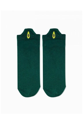 MVS NEWAGE Unisex Yeşil Avokado Bilek Arkası Nakışlı Kısa Çorap