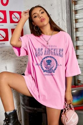 Millionaire Kadın Pembe Oversize Los Angeles Baskılı T-shirt