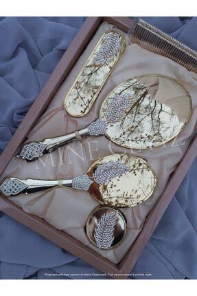 Alyans Kristal Taş Yaprak Broşlu Gold Ayna Tarak Seti