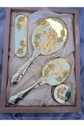 Alyans Kristal Taş Broşlu Ayna Gold Tarak Seti