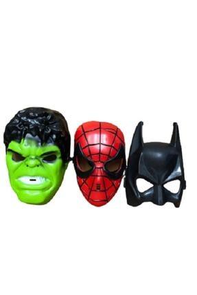 SPIDERMAN Örümcek Adam Batman Hulk Maske 3 Lü Süper Set