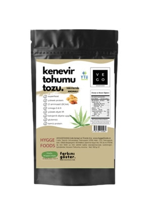 Hyggefoods Vegovego Kenevir Kendir Tohumu Tozu Yüksek Protein - Yer Fıstığı Aromalı