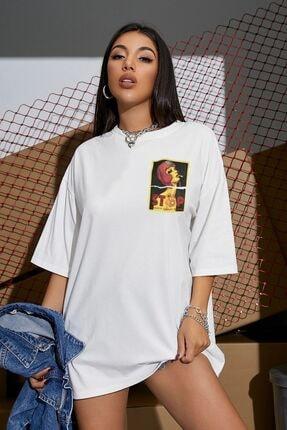 Millionaire Kadın Beyaz Stop Baskılı Oversize T-shirt