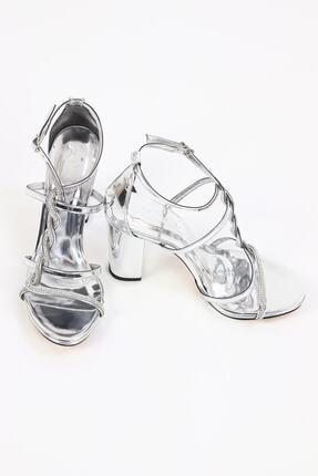 Pierre Cardin Kalın Topuk Taşlı Gümüş Kadın Abiye Ayakkabı/gümüş/37 Numara