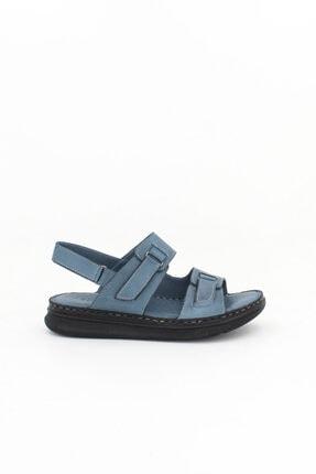 Deripabuc Hakiki Deri Kot Mavi Kadın Deri Sandalet Dp59-0007