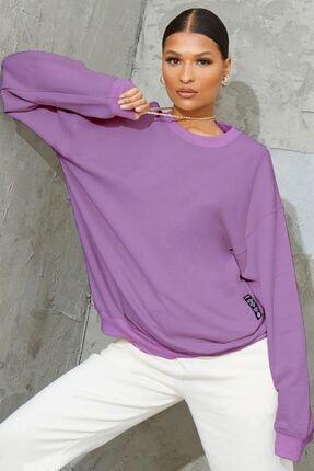 Millionaire Kadın Mor Basic 0 Sıfır Yaka Baskısız Düz Oversize Salaş Bol Kesim Polar Sweatshirt