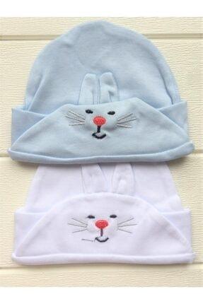 Minitoy 2'li 0-12 Ay Bebek Bere Seti Tavşan Desenli Mavi-beyaz