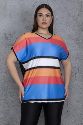 Şans Kadın Renkli Önü Renk Kombinli Düşük Kollu Bluz 65N24442