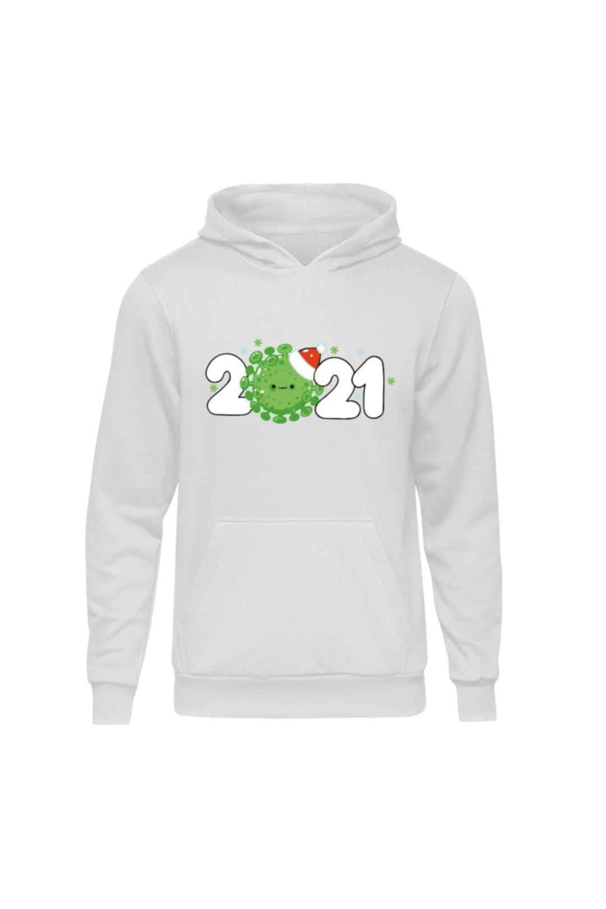 Fandomya Yılbaşı Virus 2021 Beyaz Kapşonlu Hoodie Sweatshirt 1