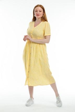 Pitti Kadın Sarı Çiçek Desenli Elbise