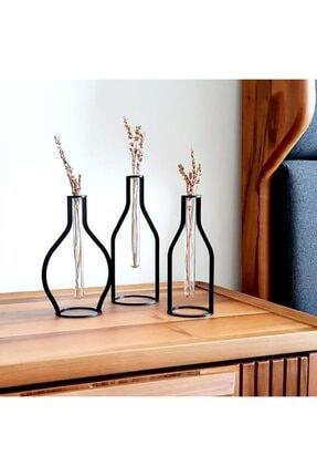 thorqtech 3 Lü Set Dekoratif Metal Vintage Vazo Şişe Tip
