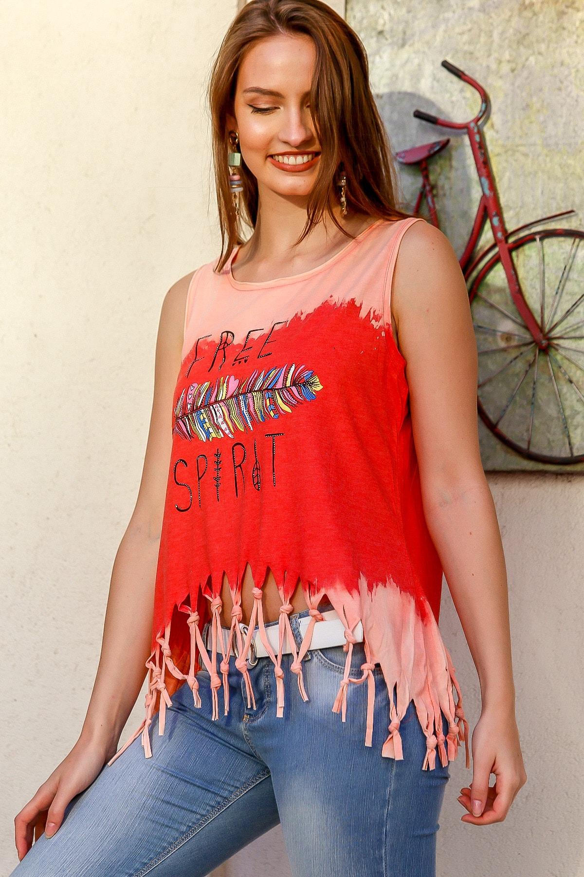 Chiccy Kadın Nar Çiçeği Batik Free Spirit Baskılı Etek Ucu Saçaklı Kolsuz Yıkamalı T-Shirt M10010300TS98230