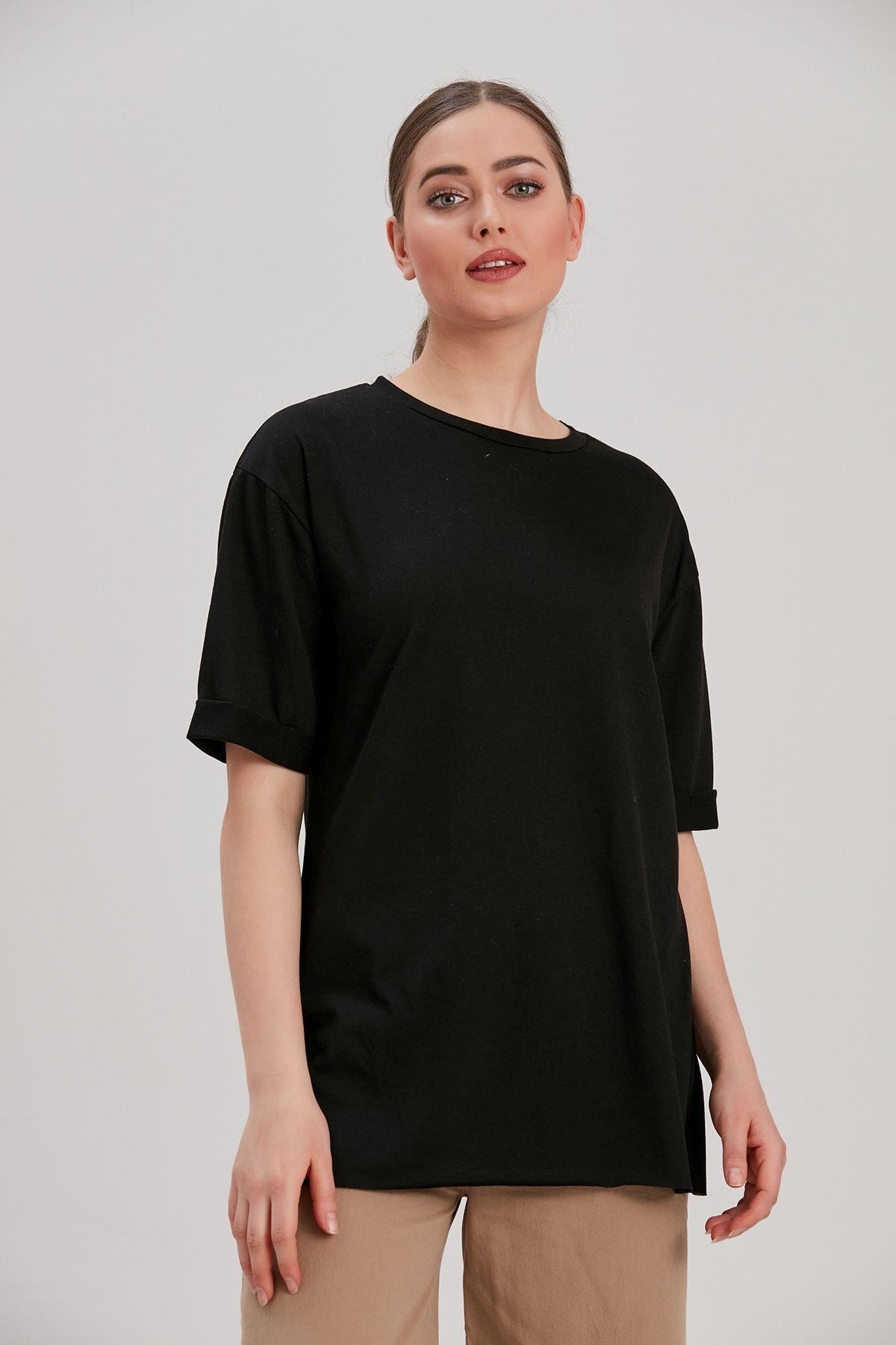 Y-London Kadın Siyah Kol Katlamalı T-Shirt YL-TS99873