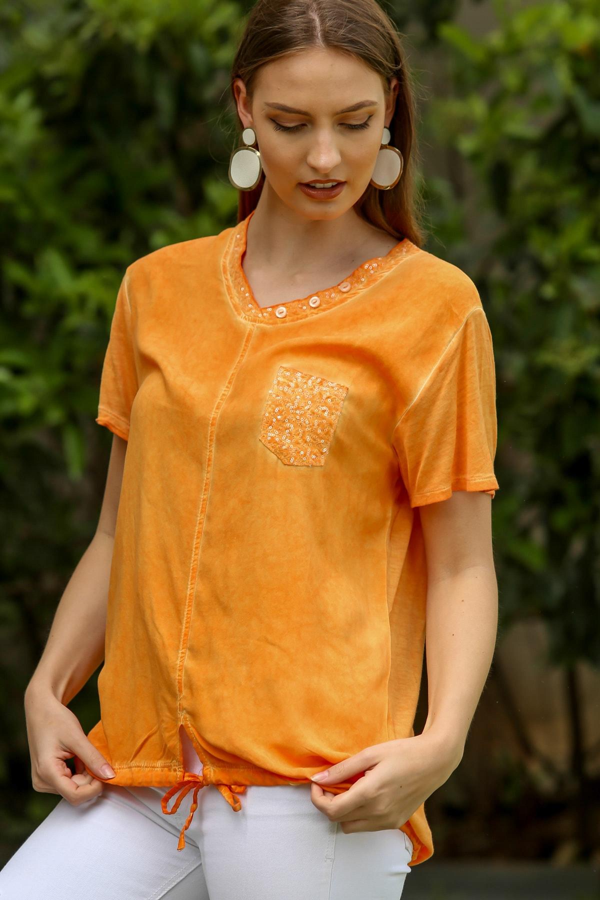 Chiccy Kadın Turuncu Pullu V Yaka Cepli Etek Ucu İp Bağlama Detaylı Yıkamalı Dokuma Bluz M10010200BL95344