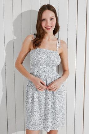 Penti Kadın Beyaz Optik Tile Flowers Crinkle Elbise