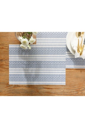 English Home Mila %70 Polyester+%30 Pvc 4'lü Amerikan Servis 30x45 Cm Gri-mavi