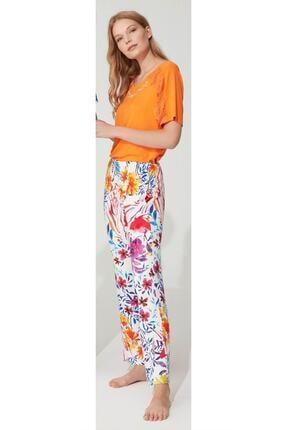 Feyza Pijama Kadın Turuncu Kısa Kollu Pijama Takımı 3732