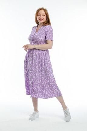 Pitti Kadın Lila Çiçek Desenli Elbise