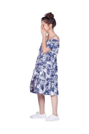 Riccotarz Kız Çocuk Ip Askılı Palmiye Desenli Mavi Elbise