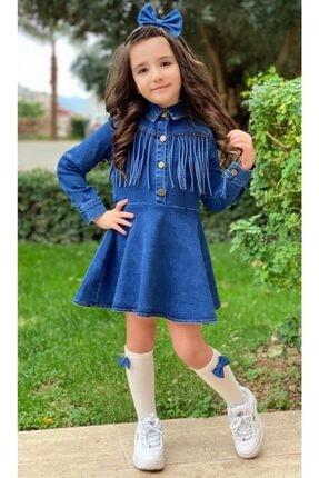 Riccotarz Kız Çocuk Püsküllü Denim Elbise