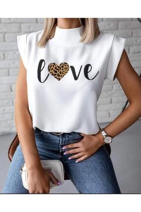ND STYLİNG Kadın Beyaz Love Sıfır Kol Bluz