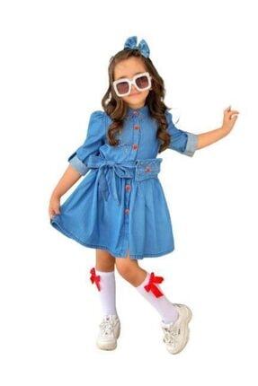 Riccotarz Kız Çocuk Düğmeli Denim Elbise
