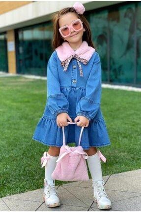Riccotarz Kız Çocuk Pembe Peluş Yakalı Denim Elbise