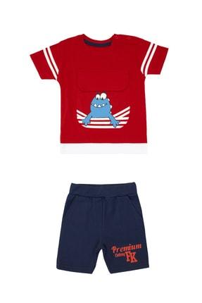 Pattaya Kids Erkek Bebek Kırmızı Cep Detaylı Baskılı 2li Takım