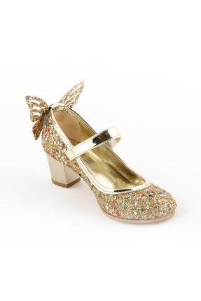 bunnyonthego Cam Kırığı Taş Işlemeli Kelebek Figürlü Altın Renkli Topuklu Kız Çocuk Ayakkabı
