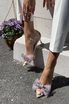 İnan Ayakkabı Kadın Pudra Fiyonk Detaylı Şeffaf Topuklu Ayakkabı