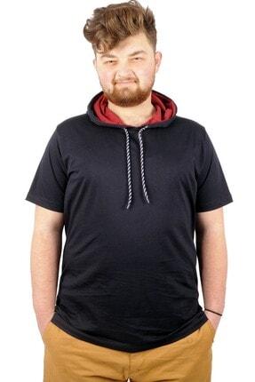 ModeXL Lacivert Büyük Beden Oversize Kapşon Basic Tshirt  21115