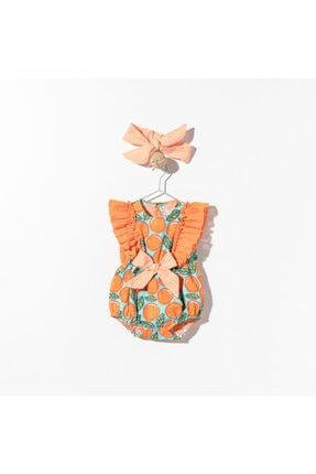 Le Mabelle Kız Bebek Turuncu Tulum Set