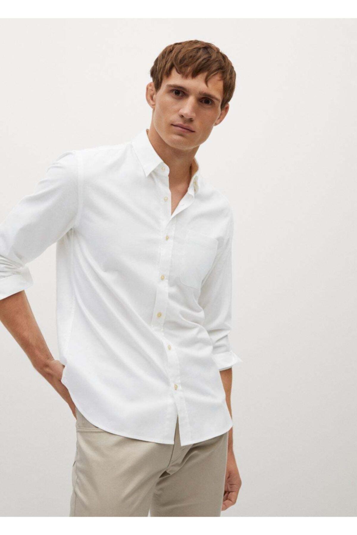 MANGO Man Erkek Beyaz Dar Kesimli Modal Pamuklu Gömlek 1