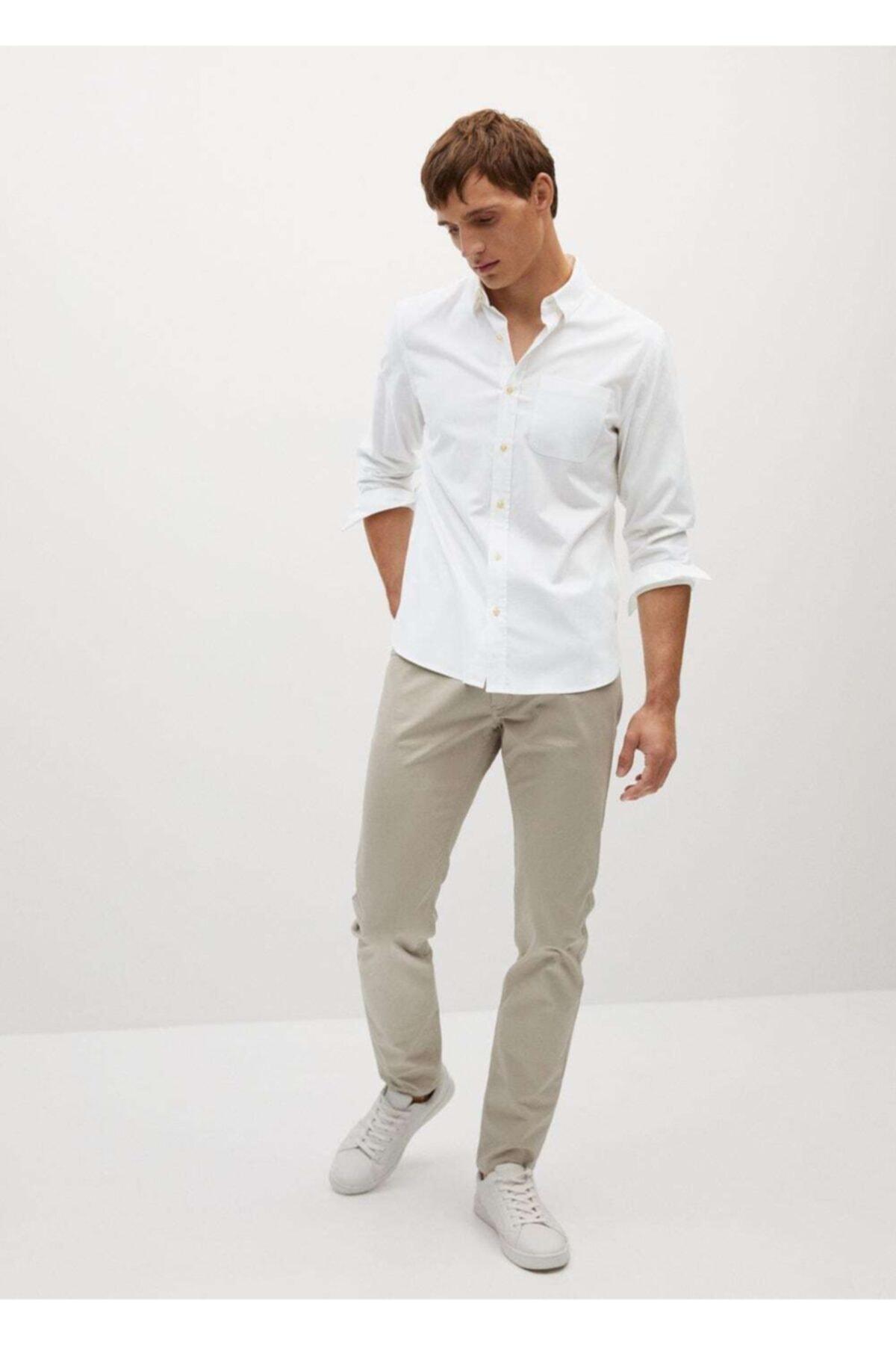 MANGO Man Erkek Beyaz Dar Kesimli Modal Pamuklu Gömlek 2
