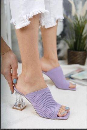 Birol Ayakkabı Şeffaf Topuklu Lila Triko Terlik