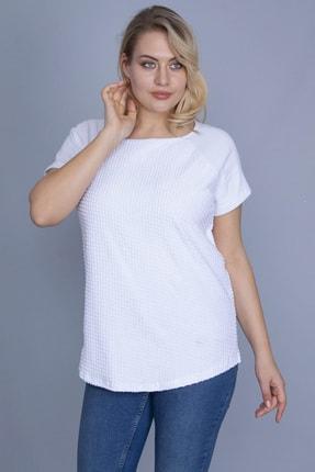 Şans Kadın Beyaz Reglan Kol Ön Ve Arkası Kendinden Desenli Bluz 65N24305