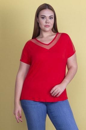 Şans Kadın Kırmızı Yaka Ve Kolları Tül Detaylı Viskon Bluz 65N24290