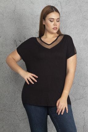 Şans Kadın Siyah Yaka Ve Kolları Tül Detaylı Viskon Bluz 65N24290