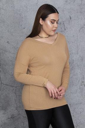 Şans Kadın Bej V Yakalı Uzun Kollu Bluz 65N24383